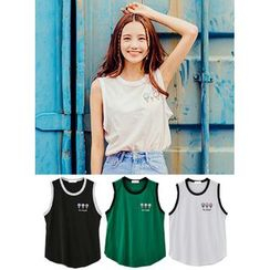 icecream12 - Sleeveless Embroidered T-Shirt