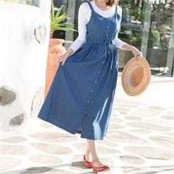 PIPPIN - Drawstring-Waist Buttoned Denim Long Jumper Dress