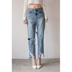 migunstyle - Distressed Straight-Cut Jeans
