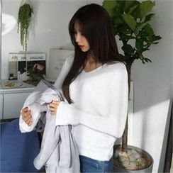 QNIGIRLS - V-Neck Bell-Sleeve Knit Top