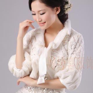 Annie Wedding - Shirred-Sleeve Faux-Fur Bolero