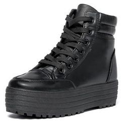 yeswalker - Faux Leather Platform High-Top Sneakers