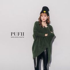 PUFII - V-Neck Furry Knit Top