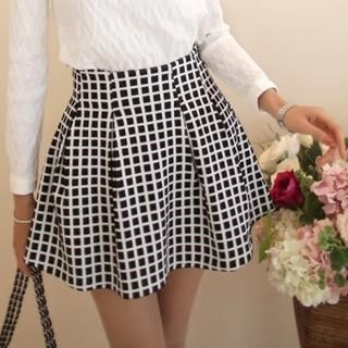 SUVINSHOP - A-Line Check Skirt
