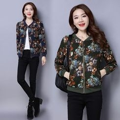 Diosa - Floral Print Padded Zip Jacket