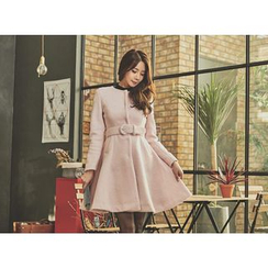 UUZONE - Collarless A-Line Coat with Belt