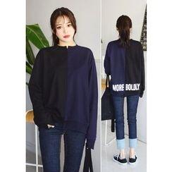 DEEPNY - Color-Block Letter Print Sweatshirt