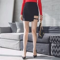 ERANZI - Cutout-Hem Buckled Mini Pencil Skirt