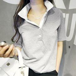 NANING9 - Color-Block Polo Shirt