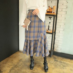 Cherryville - Check Ruffle-Hem Long Skirt