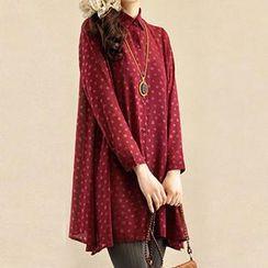 Yammi - Print Chiffon Long Shirt