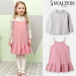 WALTON kids - Girls Set: Spaghetti-Strap Dress + Crew-Neck T-Shirt