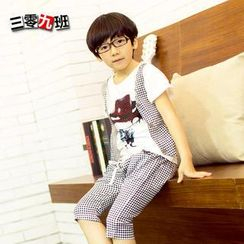 Lullaby - Kids Set: Print T-Shirt + Gingham Pants