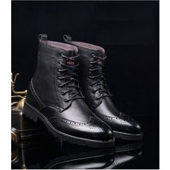 SHEN GAO - Genuine-Leather Wing-Tip Short Boots