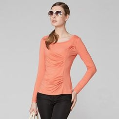 O.SA - Long-Sleeve Shirred-Front Top