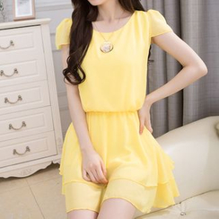 LunarS - Short Sleeve A-Line Chiffon Dress