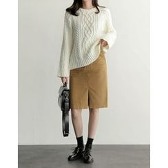 UPTOWNHOLIC - Round-Neck Cable-Knit Top