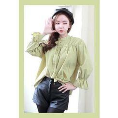 Dalkong - Mandarin-Collar Tie-Front Blouse