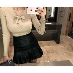 Marlangrouge - Pleated-Hem Faux-Leather Mini Skirt