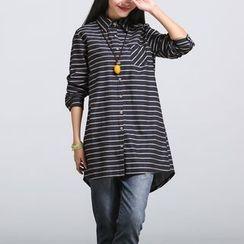 Yeeya - 條紋長款襯衫