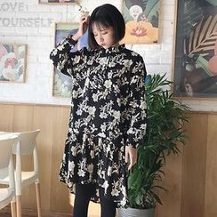 CaraMelody - Set: Long-Sleeve Floral A-Line Dress + Knit Vest