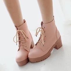 Sidewalk - Lace-up Block Heel Oxford Shoes