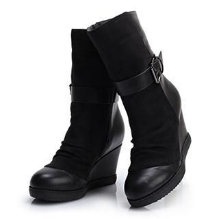 Exull - Buckled Panel Wedge Short Boots