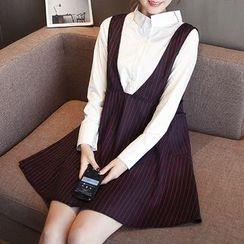 Soswift - 孕婦套裝: 長袖襯衫 + 細條紋背帶連衣裙