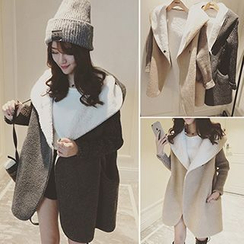 Bloombloom - Fleece Lined Hooded Knit Panel Jacket