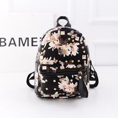 Bibiba - Floral Rhinestone Studded Faux Leather Backpack