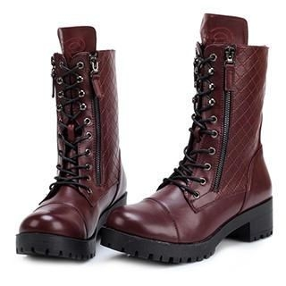 Exull - Faux-Leather Lace-Up Short Boots