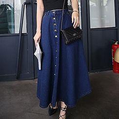 Yohana - Buttoned A-Line Maxi Denim Skirt