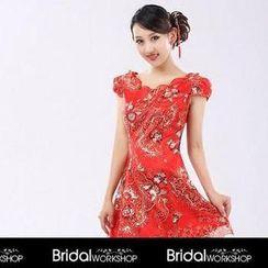 Bridal Workshop - Cap-Sleeve V-Neck Embroidered Cocktail Dress