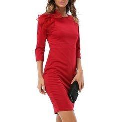LIVA GIRL - Bow Accent Plain 3/4 Sleeve Dress