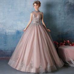 Coeur Wedding - Mesh Panel Cap-Sleeve Embellished Ball Gown