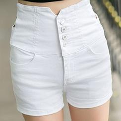 Glen Glam - 高腰牛仔短褲