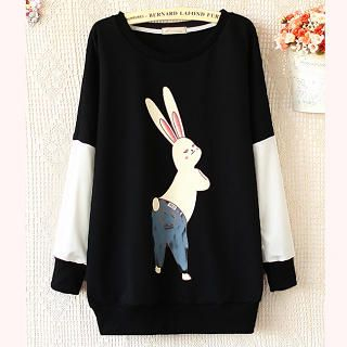 Ringnor - Bunny-Print Color-Block Pullover