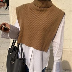 LIPHOP - Turtle-Neck Sleeveless Cropped Knit Top