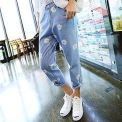 REDOPIN - Floral Print Blue Jeans