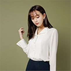 Styleberry - Faux-Pearl Buttoned Blouse