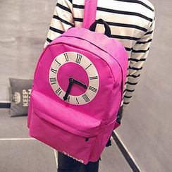 Youme - Clock Appliqué Canvas Backpack