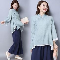 Diosa - Stand-collar Linen Cotton Top