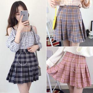 CosmoCorner - Plaid Pleated Mini Skirt