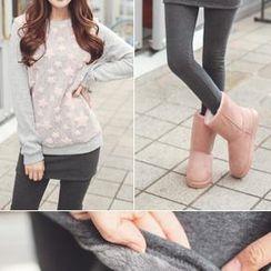 Bongjashop - Brushed-Fleece Inset Skirt Leggings
