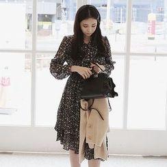 Seoul Fashion - Gathered-Waist Flower Patterned Chiffon Dress