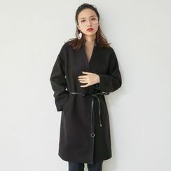 AC - Stand-Collar Wool Jacket with Leather Sash