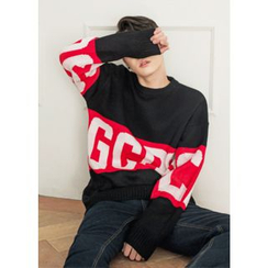 GERIO - Round-Neck Lettering Sweater
