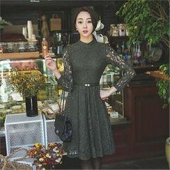 ode' - Mock-Neck Lace A-Line Dress