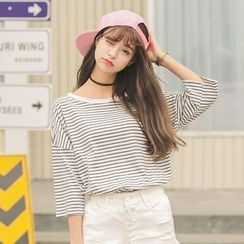 Sienne - 3/4-Sleeve Striped T-Shirt