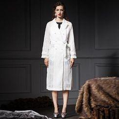 YiGelila - Tie-Waist Striped Sheer Trench Coat